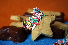 Pistachio shortbread cookies with chocolate and sprinkles